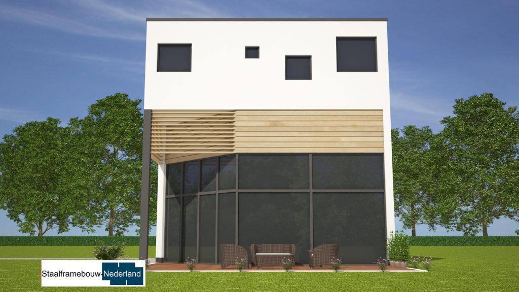 Kubuswoning in moderne ontwerpstijl en met moderne staalframe bouwmethode energiearm tot energieneutraal  1