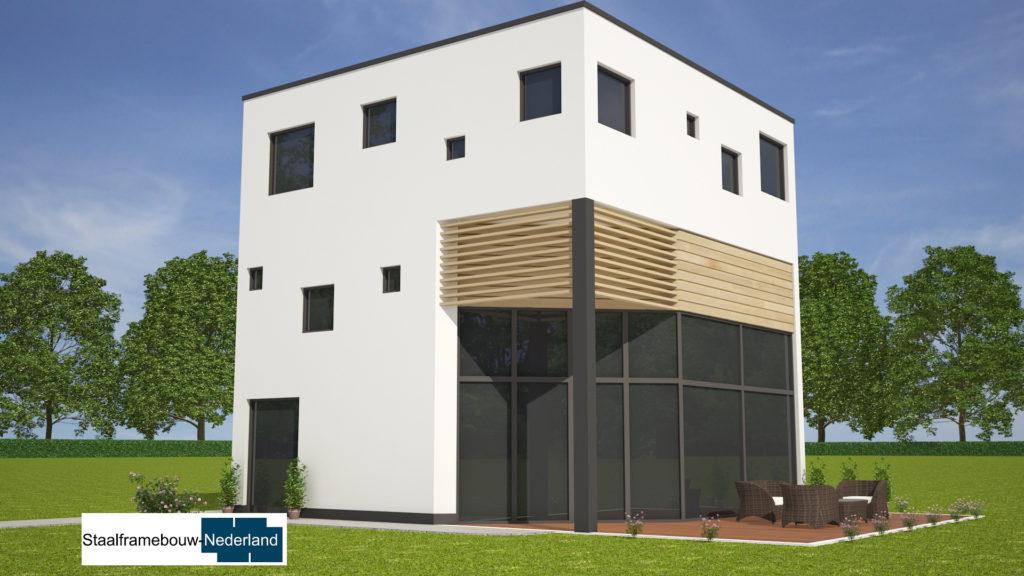 Kubuswoning in moderne ontwerpstijl en met moderne staalframe bouwmethode energiearm tot energieneutraal 6
