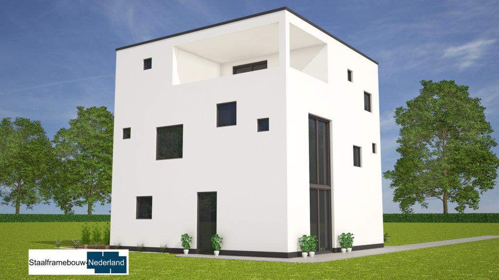 Kubuswoning in moderne ontwerpstijl en met moderne staalframe bouwmethode energiearm tot energieneutraal 7