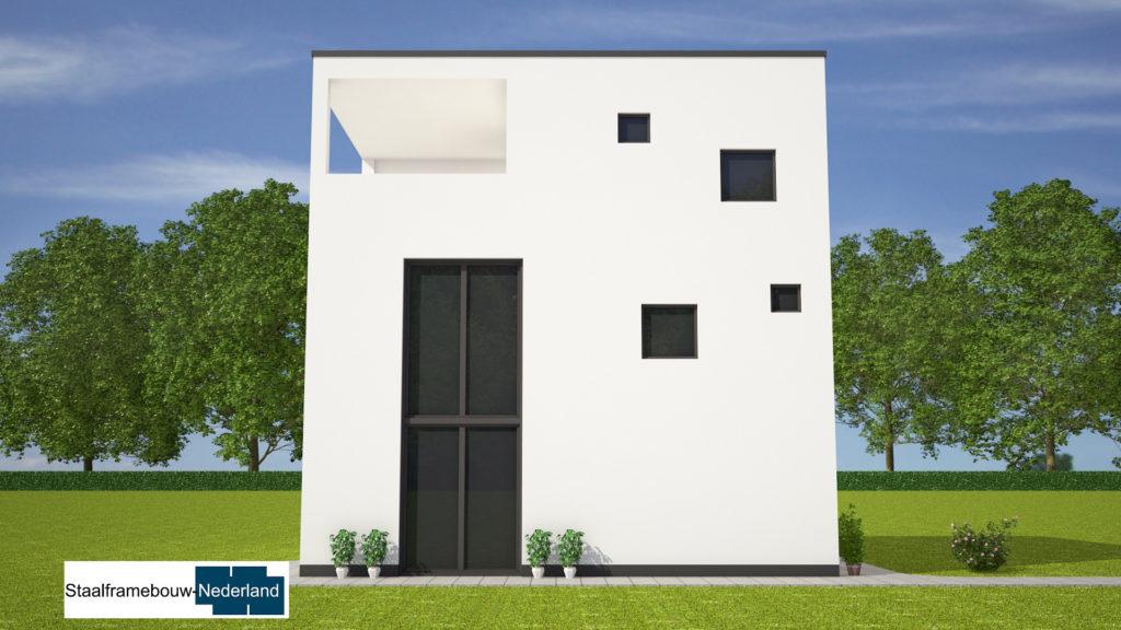 Kubuswoning in moderne ontwerpstijl en met moderne staalframe bouwmethode energiearm tot energieneutraal 2