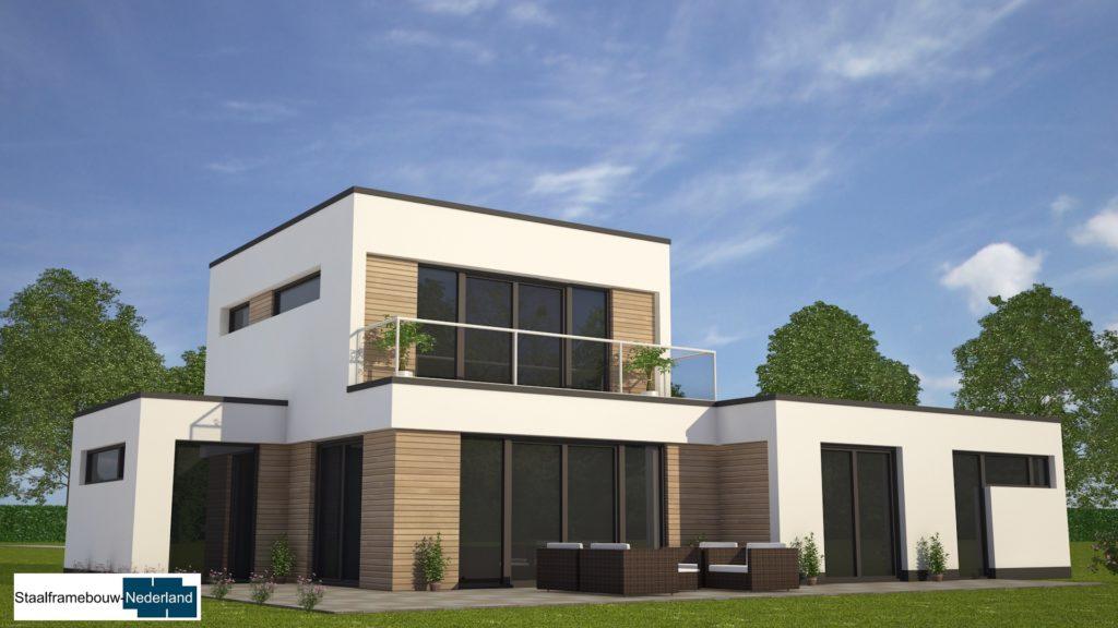 moderne-kubistische-bungalow-woning-met-gastenruimte en dakterras op eerste M113 view1