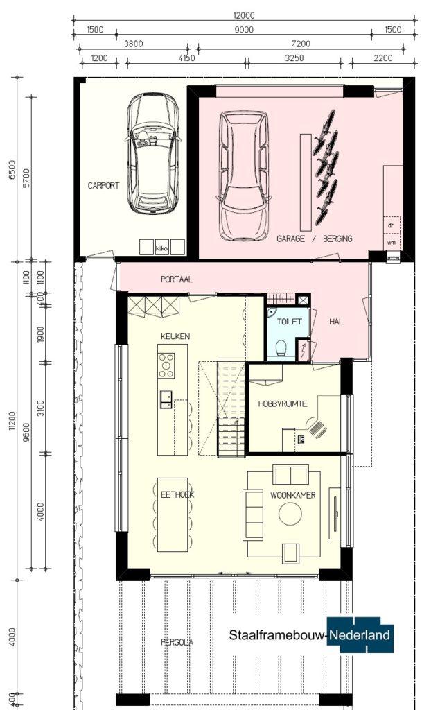 Modern kubistisch ontwerpen met staalframebouw energiearm M140 Vloer 2