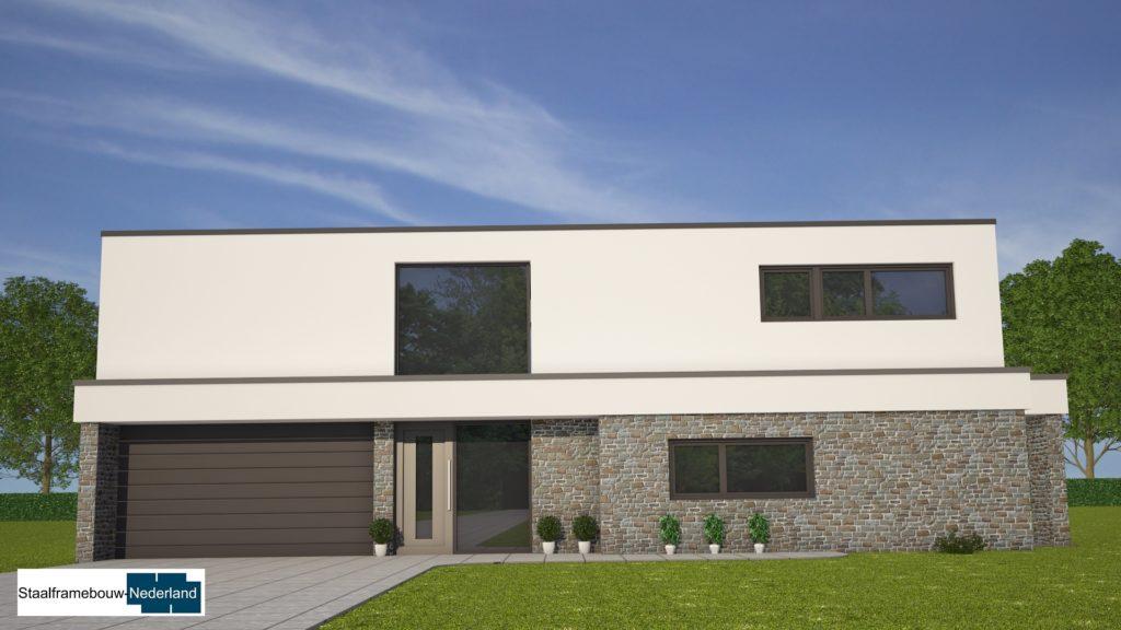 Moderne kubistische villawoning met grote garage 1