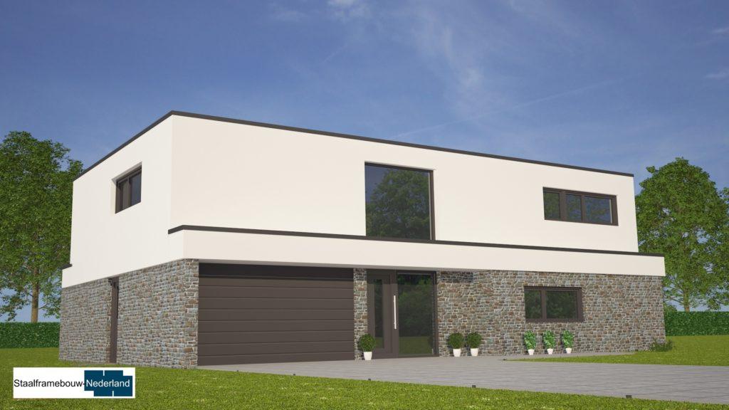 Moderne kubistische villawoning met grote garage