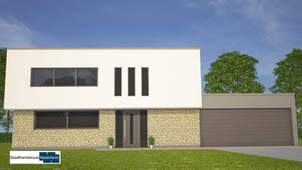 Moderne kubistische woning M112 vide overstekende verdieping veel glas natuursteen gevel