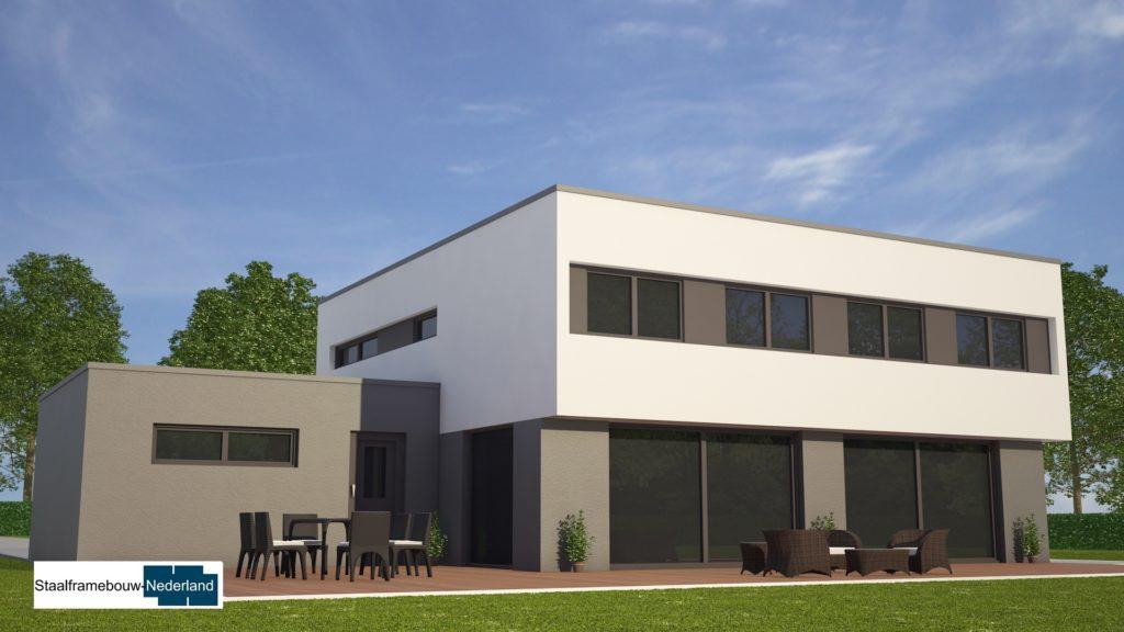 Moderne kubistische woning M112 vide overstekende verdieping veel glas natuursteen gevel 1