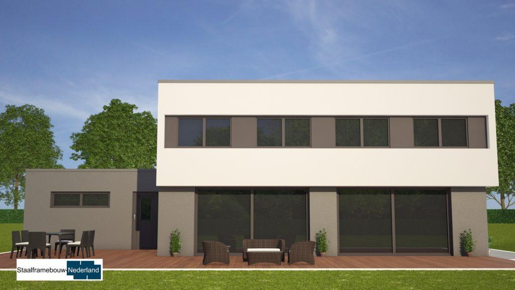 Moderne kubistische woning M112 vide overstekende verdieping veel glas natuursteen gevel2
