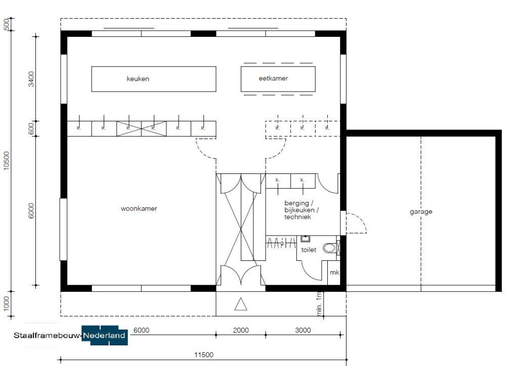 Moderne kubistische woning M112 vide overstekende verdieping veel glas natuursteen gevel 3