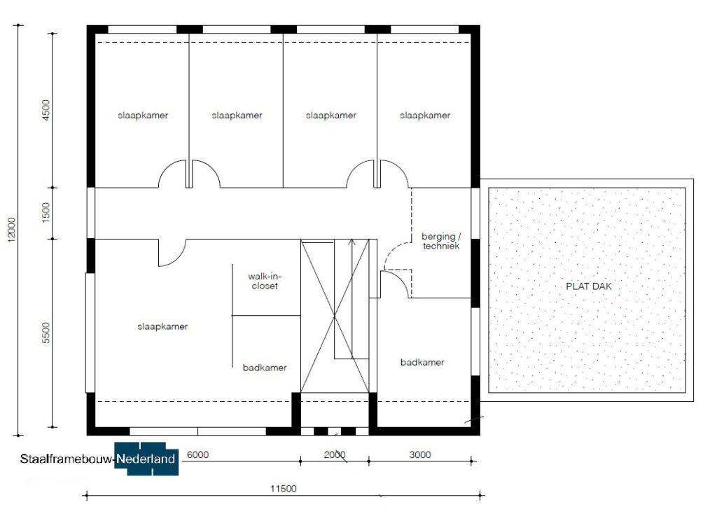 Moderne kubistische woning M112 vide overstekende verdieping veel glas natuursteen gevel 4
