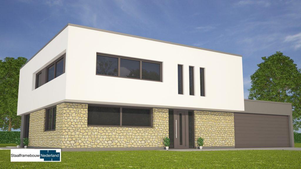 Moderne kubistische woning M112 vide overstekende verdieping veel glas natuursteen gevel 5