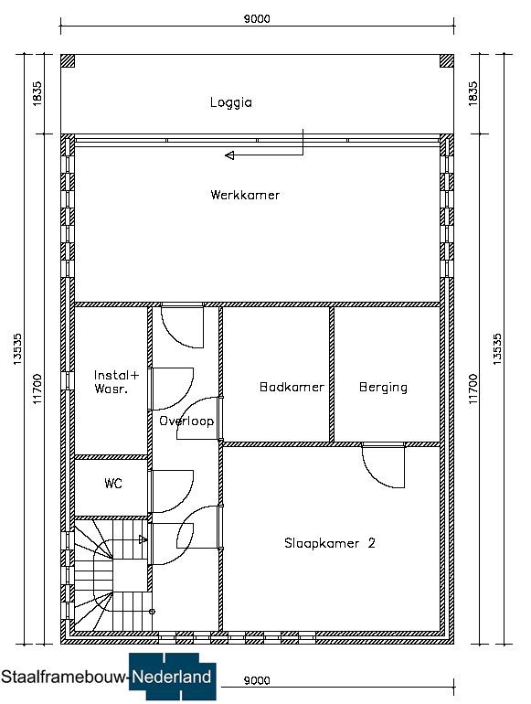 staalframebouw M21 eigentijdse moderne villa met plat dak atelier of kantoor prefab passief gebouwd (1)
