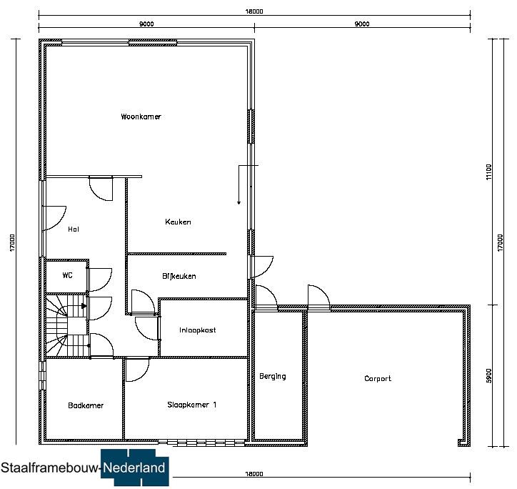 staalframebouw M21 eigentijdse moderne villa met plat dak atelier of kantoor prefab passief gebouwd (2)
