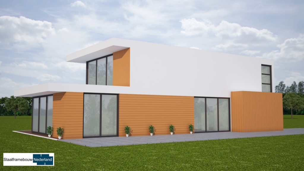 moderne kubistische villa met eel ramen en glas energieneutraal M45
