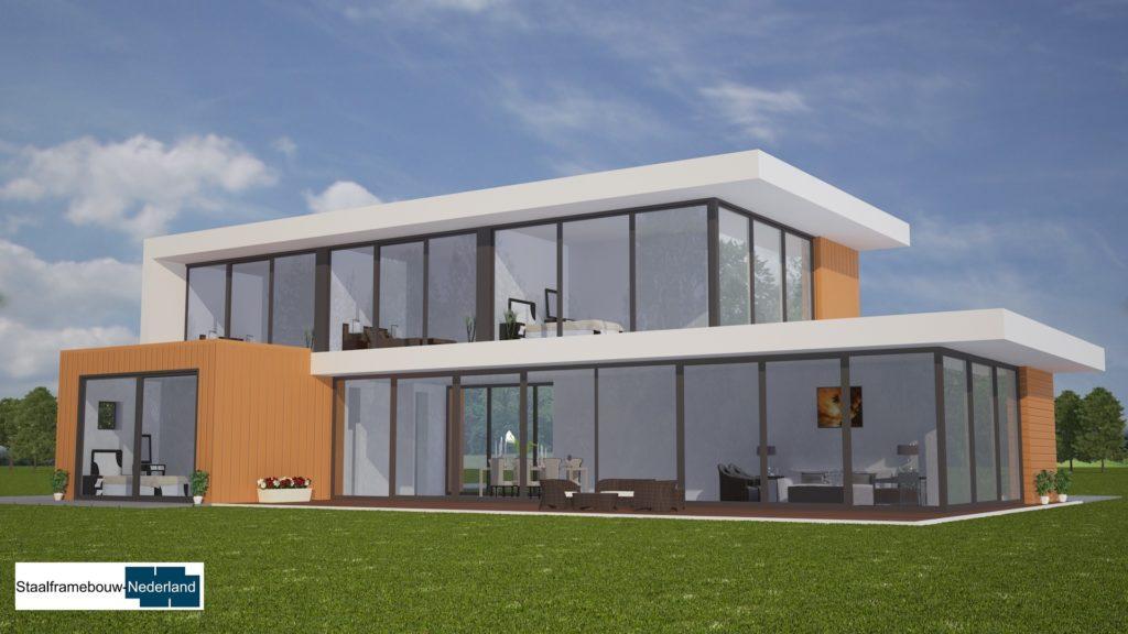 moderne kubistische villa met eel ramen en glas energieneutraal M45 3