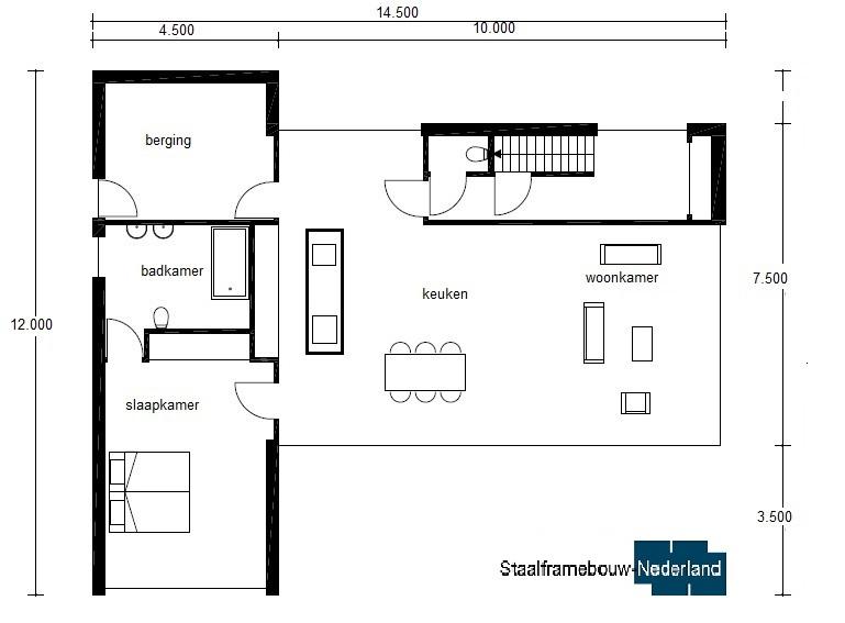 moderne kubistische villa met eel ramen en glas energieneutraal M45 Vloer 2