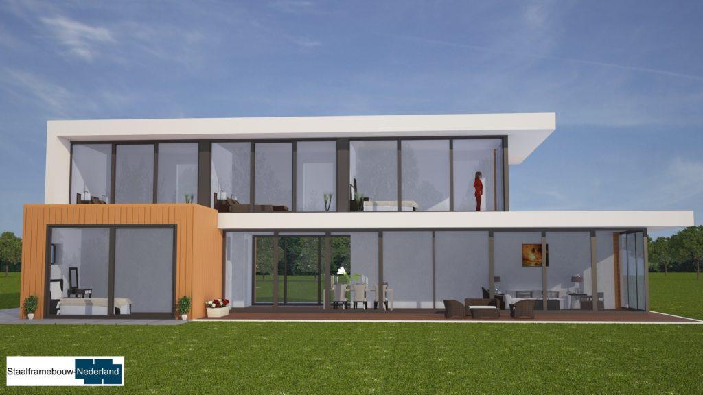 moderne kubistische villa met eel ramen en glas energieneutraal M45 1