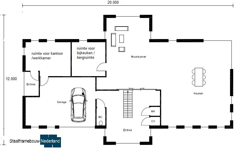 modern kubistisch villa ontwerp bauhausstijl villan M79 Vloer BG1