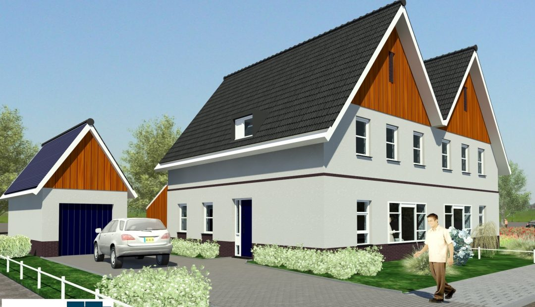 mooie moderne 2-onder-1-kap woningen geschakeld goedkoper bouwen met staalframebouw TK2 (2)